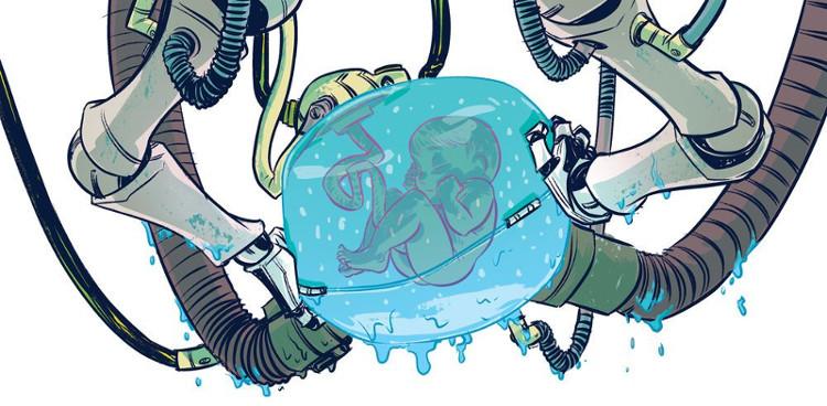 Hình vẽ minh họa một em bé được phát triển trong tử cung nhân tạo.
