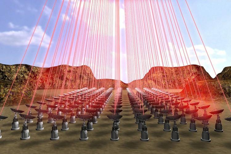 Mô hình hệ thống đẩy thiết bị StarChip bằng tia laser công suất lớn.