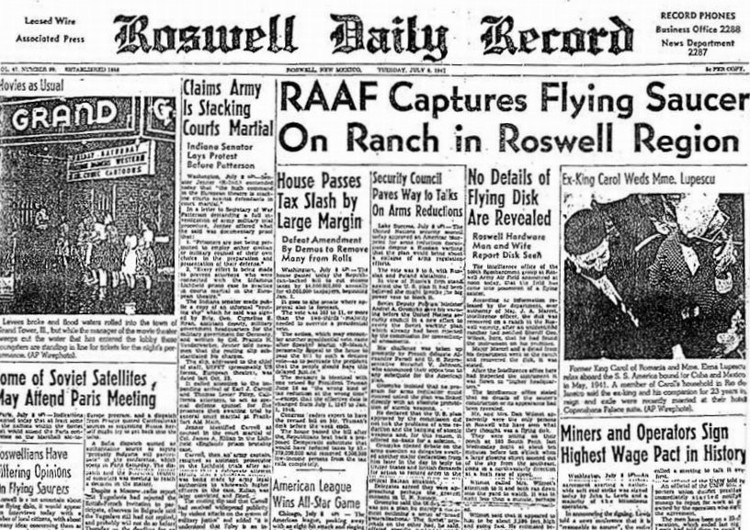 Bài báo về sự cố năm 1947 ở Roswell.