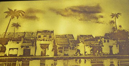 Hình ảnh phố cổ Hội An in trên nền giấy dừa