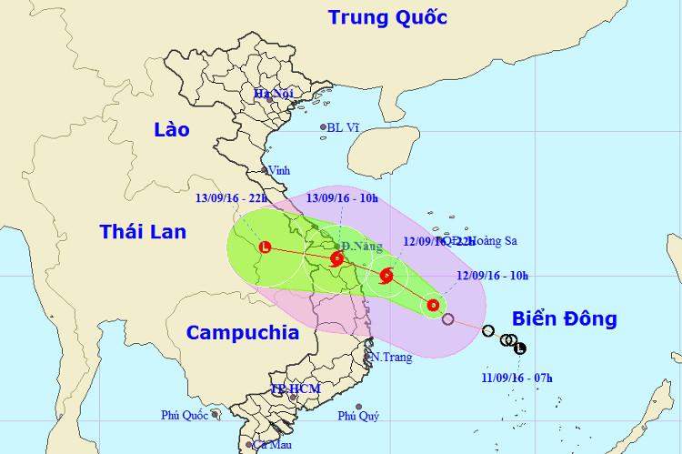 Đường đi của áp thấp nhiệt đới.