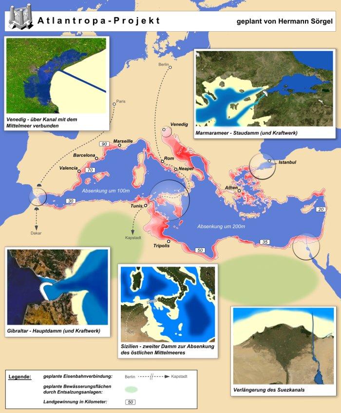 Nền tảng của kế hoạch siêu lục địa là những con đập bắc ngang qua eo biển Gibraltar và Dardanelles, nối Sicily với Tunisia.