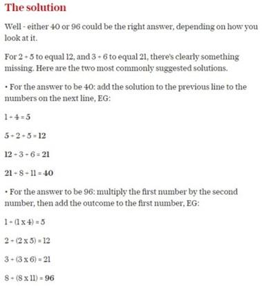 Cách lý giải cho đáp án 40 và 96 của bài toán trên.