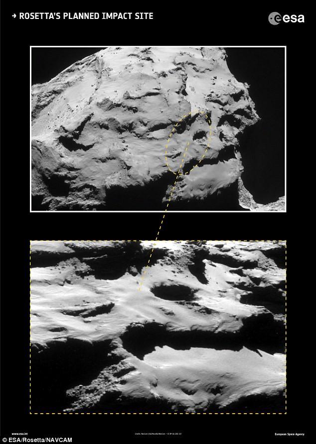 Địa điểm va chạm dự kiến của tàu Rosetta trên sao chổi 67P.