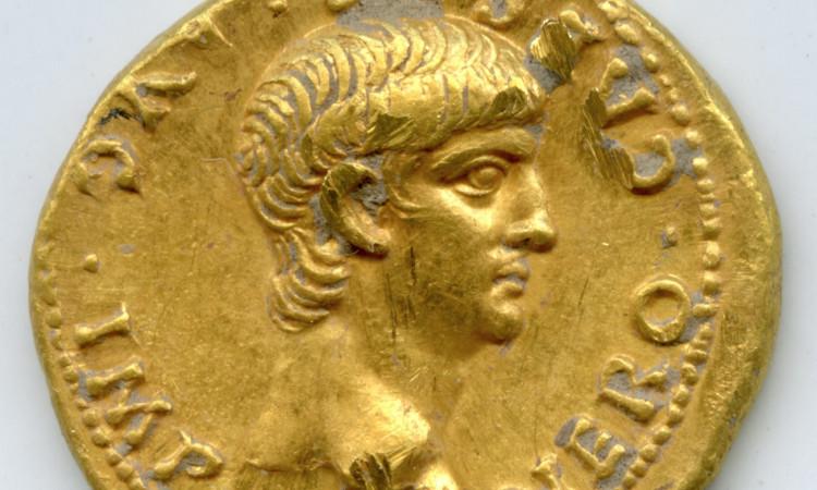 Đồng xu vàng khắc hình hoàng đế La Mã Nero