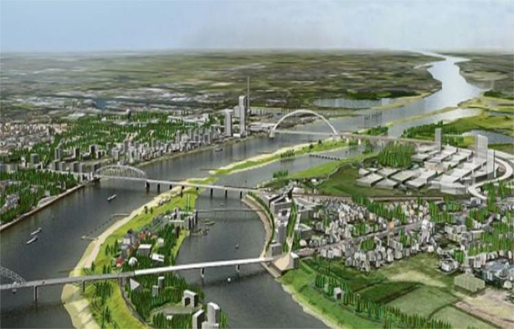 Mô hình một công trình thuộc dự án Room for River, trong đó người ta đào con kênh song song dòng sông, biến doi đất trở thành một hòn đảo