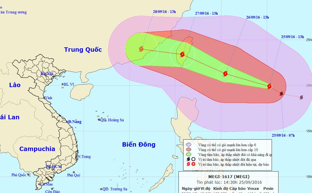 Vị trí và đường đi của bão MEGI.