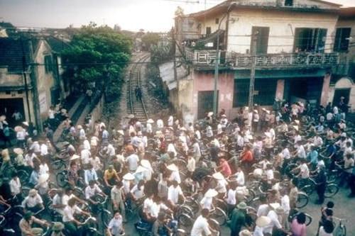 Dòng người tấp nập vào buổi sáng trên một con đường ở Hải Phòng.