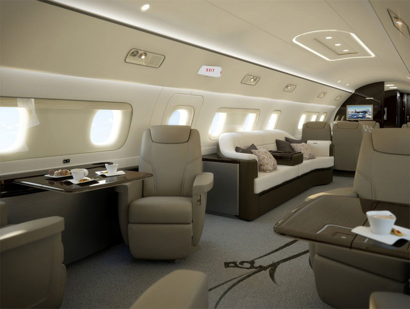 Máy bay có 5 khu cabin lớn được lắp đặt ghế dài, ghế da, cùng các tiện ích như tivi.