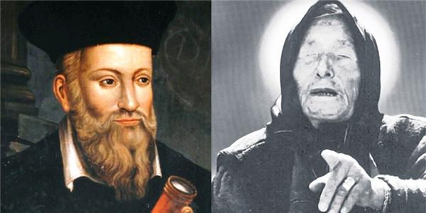 Chân dung hai nhà tiên tri nổi tiếng ông Nostramadus (bên trái) và bà mù Vanga.
