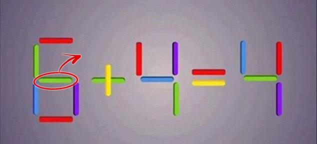 Xoay dọc dấu gạch ngang của số 6, bạn sẽ có đáp án: 0 + 4 = 4