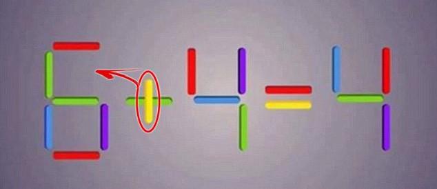 Di chuyển dấu gạch dọc từ dấu cộng về phía số 6, biến nó thành số 8. Ta có phép tính: 8 - 4 = 4.