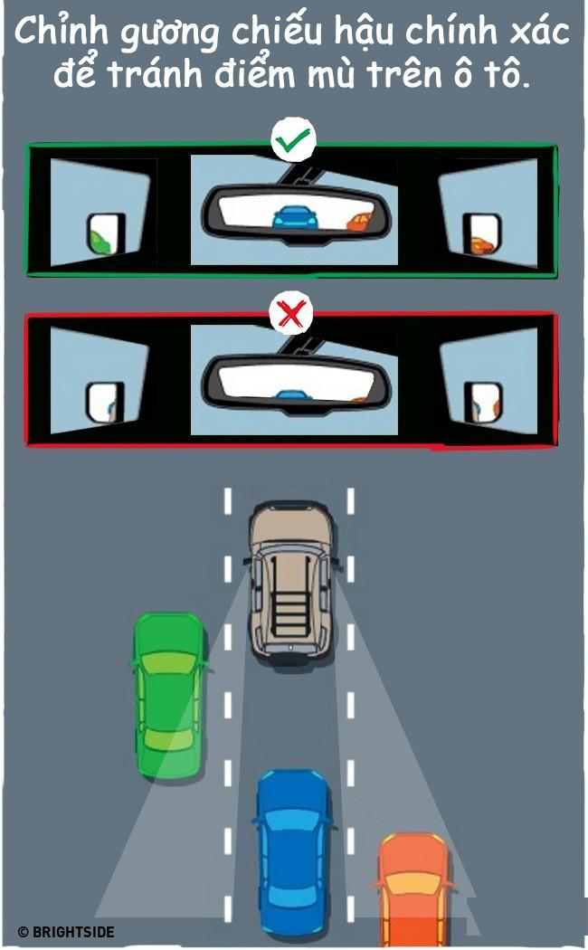 Loại bỏ các điểm mù khi lái xe bằng cách điều chỉnh gương xe chuẩn chỉnh