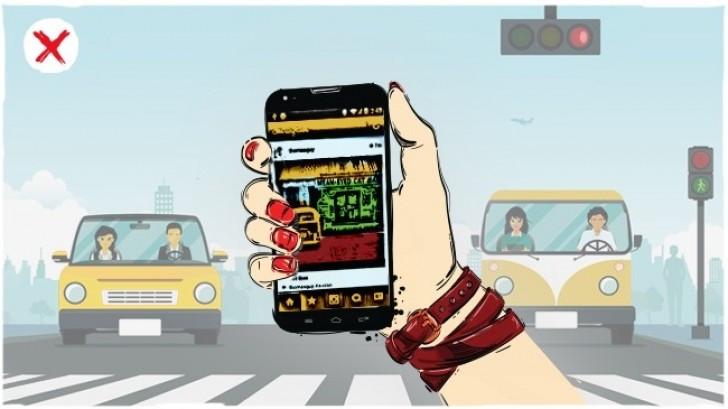 Không vừa đi vừa sử dụng điện thoại di động