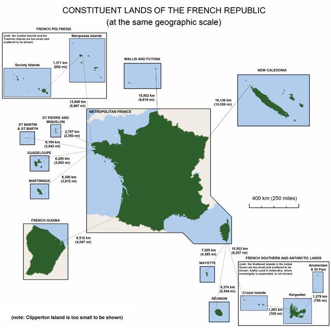 Chi tiết các vùng lãnh thổ thuộc Pháp và Pháp.