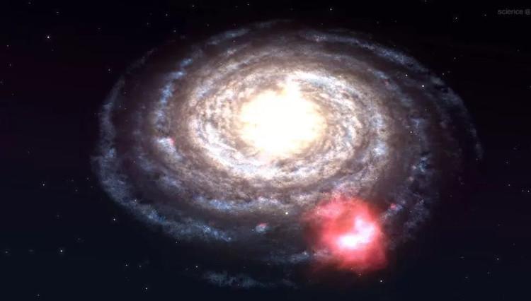 Đồ họa mô phỏng Đám mây Smith màu đỏ va vào vành ngoài dải Ngân Hà sau 30 triệu năm nữa.