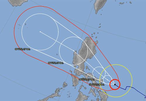 Dự báo đường đi của bão theo đài khí tượng của Nhật Bản.