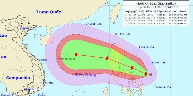 Đường đi của bão theo dự bão của Trung tâm dự báo khí tượng và thủy văn Trung ương.