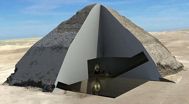 Đồ họa mô phỏng khoang rỗng bên trong Đại kim tự tháp Giza.