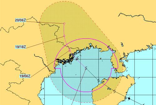 Đài Hải quân Mỹ dự báo đường đi của bão.