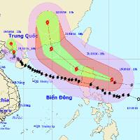 Bão Sarika suy yếu thành áp thấp nhiệt đới