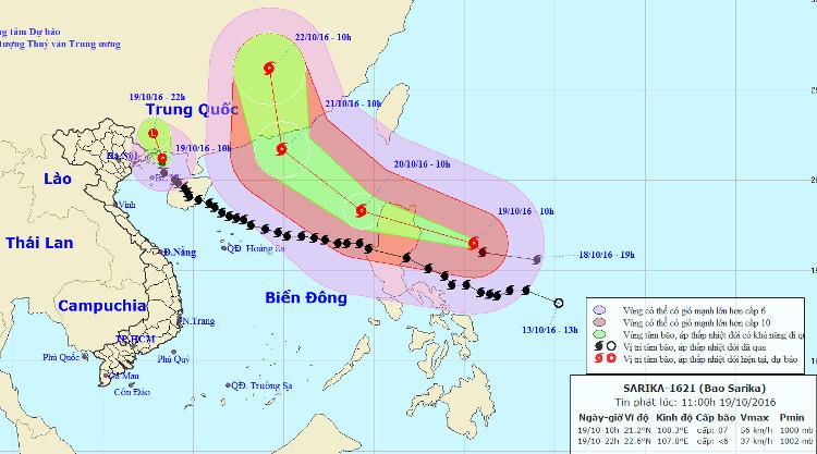 Đường đi của bão Sarika. Ngoài ra, trên biển Đông còn sắp đón bão Haima.