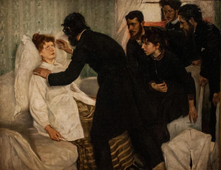 """Bức họa năm 1887 """"Thôi miên gọi hồn"""" của Richard Bergh."""