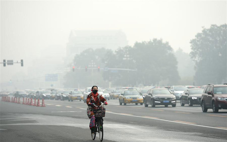 Người dân Trung Quốc đeo khẩu trang để tránh tác hại của khói mù ô nhiễm tại thủ đô Bắc Kinh, Trung Quốc ngày 14/10.