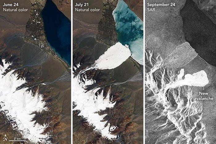 Hình ảnh chụp tảng băng ở Tây Tạng qua các ngày 24/6, 21/7 và 24/9.