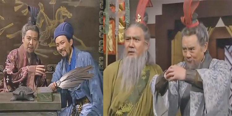 2 lão tướng đang thể hiện tài nghệ trước mặt Quân sư Khổng Minh và Chúa công Lưu Bị.