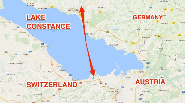 Vị trí của 2 địa điểm bay trên bản đồ.