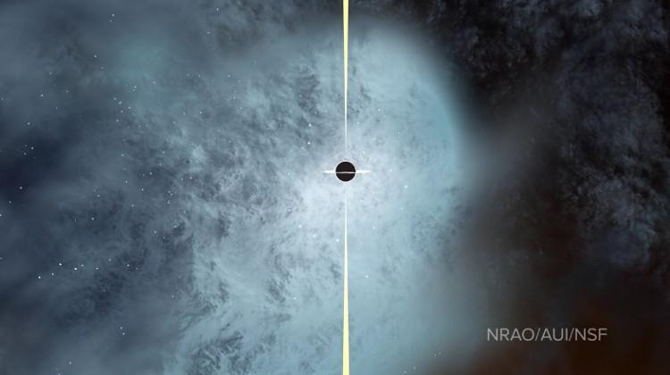 Minh họa hố đen gần như trần trụi do mất sao.