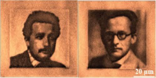 Ảnh hai nhà vật lý Einstein và Schoerdinger được mã hóa và lưu trữ lên kim cương.