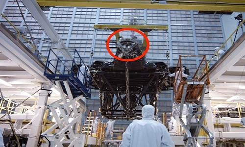 Một phần cấu trúc của Kính viễn vọng không gian James Webb bị làm mờ (phần khoanh tròn màu đỏ).