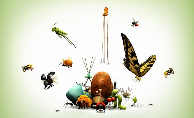 Côn trùng là những động vật không xương sống, cơ thể chia làm ba phần: đầu, ngực và bụng.
