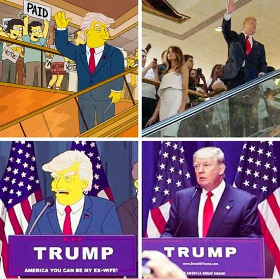 Một dự đoán chiến thắng trong cuộc bầu cử thổng thống của Donald Trump trong The Simpsons