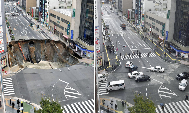 Chỉ vài ngày sau khi sự cố xảy ra, người dân đã có thể yên tâm đi trên tuyến đường.