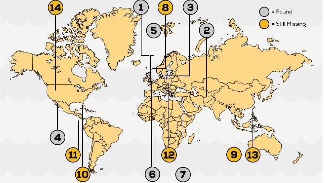 Trên ảnh là tấm bản đồ vừa được Bullion Vault công bố, với những khoanh tròn màu xám là các kho báu được tìm thấy, những khoanh màu vàng là vẫn còn ẩn giấu.