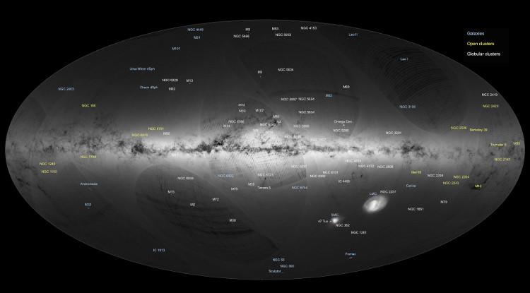 Bản đồ ghi chú vị trí, hình dạng và các ngôi sao, chòm sao tồn tại trong thiên hà Milky Way
