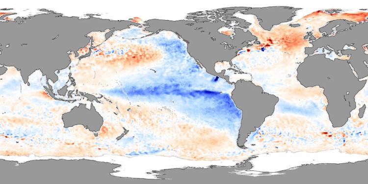 Nhiệt độ bề mặt nước biển Thái Bình Dương tháng 11 năm 2007.