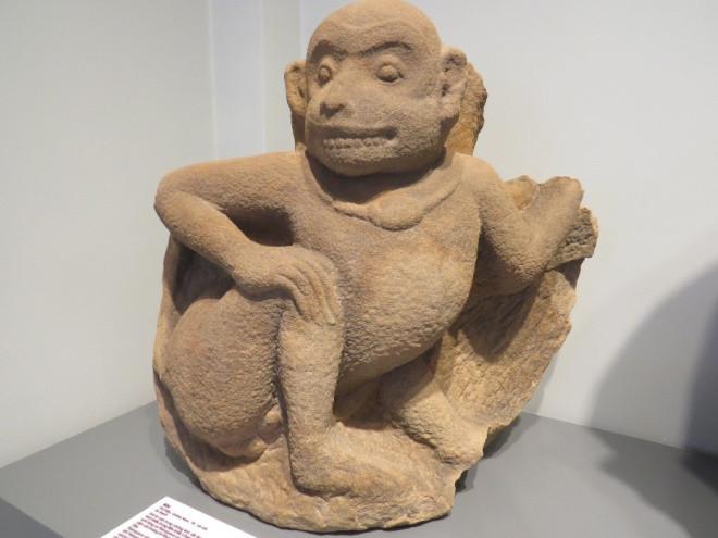 Hình tượng con khỉ thế kỷ 7-8. Khỉ là linh vật được yêu thích nhất trong tín ngưỡng của người Chăm Pa