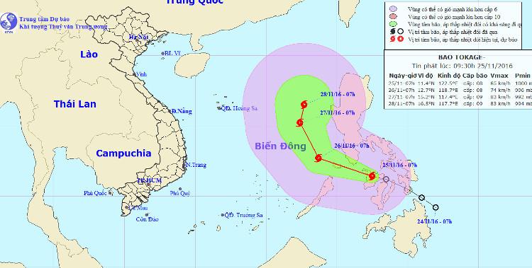 Vị trí và hướng đi của bão Tokage.
