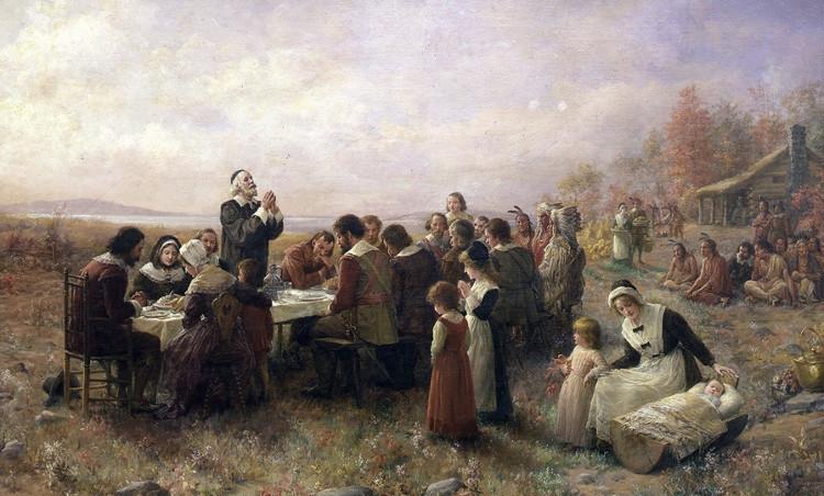 Ngày lễ Tạ ơn đầu tiên được phác họa qua bức tranh của một họa sĩ ẩn danh.