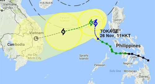 Đài khí tượng Hong Kong dự báo bão số 9 hướng vào Việt Nam.