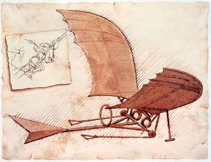 Một trang phác thảo máy bay của Leonardo da Vinci (1452-1519).