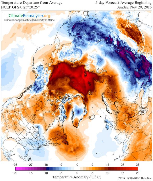 Trong biểu đồ trên, vùng màu đỏ là những nơi có nhiệt độ cao hơn mức bình thường 1,6 độ C.