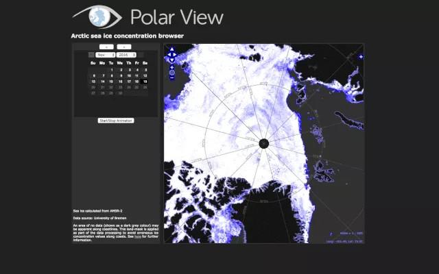 Cực Bắc ở chính giữa, xung quanh là những thay đổi của biển băng từ ngày 12/11 cho tới 19/11 năm nay.