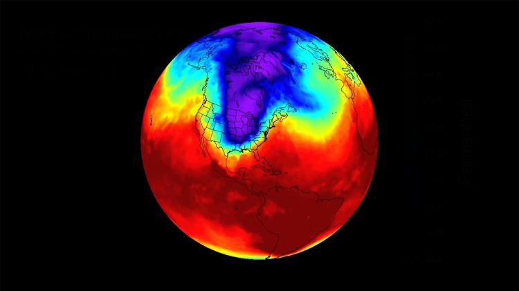 Vòng xoáy cực Bắc nhìn từ vệ tinh.
