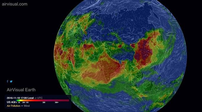 AirVisual Earth: Mô hình trực quan và chạy trên nền dữ liệu thời gian thực về tình trạng ô nhiễm không khí toàn cầu.