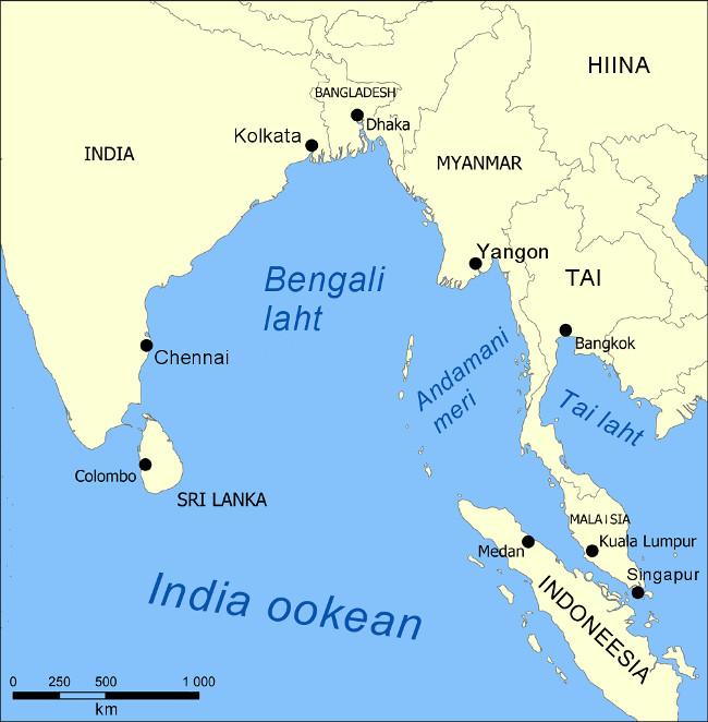 Vùng biển chết nằm trong vịnh Bengal, gần khu vực Đông Nam Á.